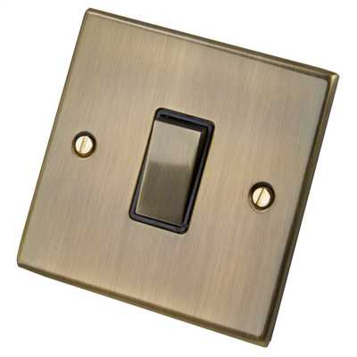 Brushed Brass Light Switches: 10A 1 Gang 2 Way Light Switch Black Insert Antique Brass,Lighting