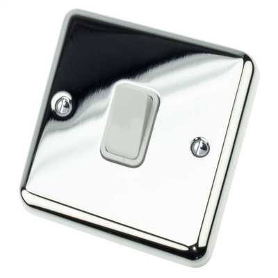 10A 1 Gang 2 Way Light Switch White Insert Chrome