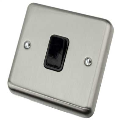 10A 1 Gang 2 Way Light Switch Black Insert Satin Chrome