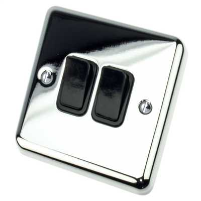 10A 2 Gang 2 Way Light Switch Black Insert Chrome