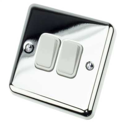 10A 2 Gang 2 Way Light Switch White Insert Chrome