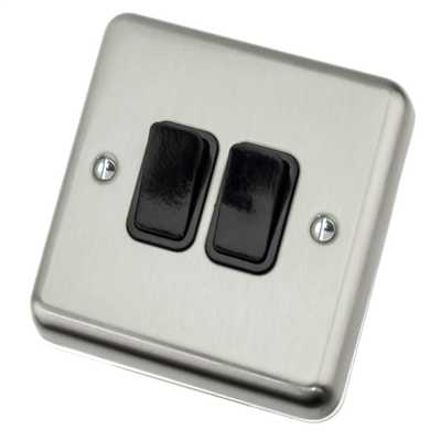 10A 2 Gang 2 Way Light Switch Black Insert Satin Chrome
