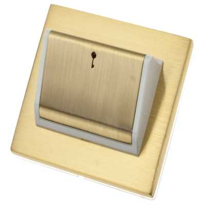 Hotel Key Card Switch White Insert Satin Brass