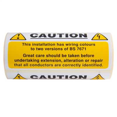 130mm x 60mm Caution Mixed Cable Label (Roll of 100) | CEF on bracket labels, frame labels, wire identification labels, safety labels, printed labels, fancy labels,