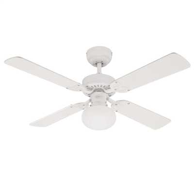 "105cm 42"" 4 Blade Reversible Ceiling Fan White Washed Pine"