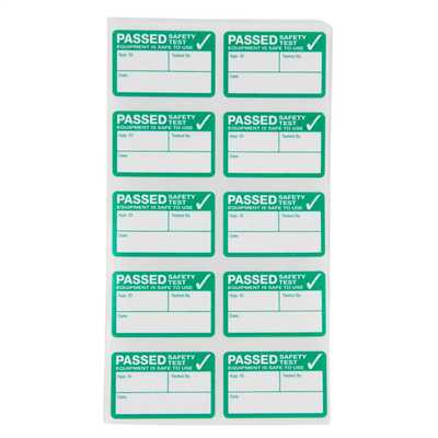 Pass Labels for Portable Appliance Testing
