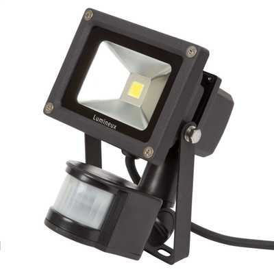10W LED Die Cast Aluminium IP44 Flood Light complete with PIR Black
