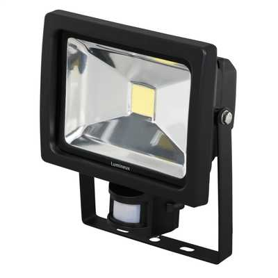 20W LED Die Cast Aluminium IP44 Flood Light complete with PIR Black
