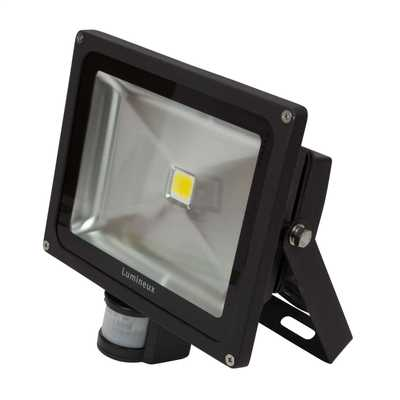 30W LED Die Cast Aluminium IP44 Flood Light complete with PIR Black