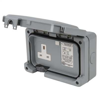 Mk 13a Dp 1 Gang Rcd Switched Socket Active Weatherproof