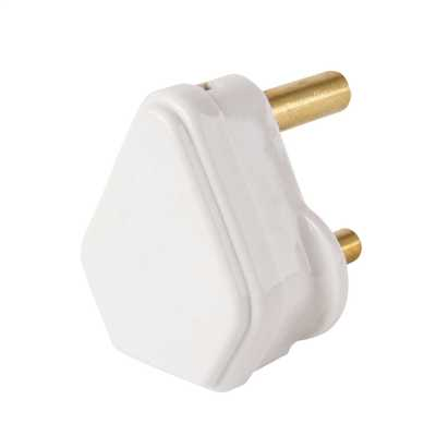 15A Round Pin Plug Top White