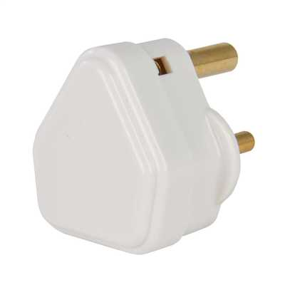 2A Round Pin Plug Top White