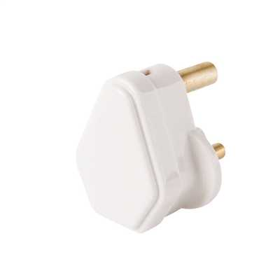 5A Round Pin Plug Top White