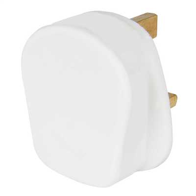 13A Plug Top 5A Fused Screw Cord Grip White
