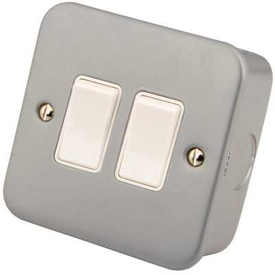 10A 2 Gang 2 Way Light Switch Metal Clad With Back Box