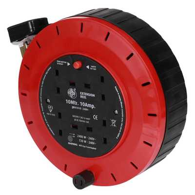10A 10m 230V 4 Gang Cable Reel Red / Black