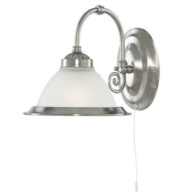 American Diner Single Wall Light Satin Silver