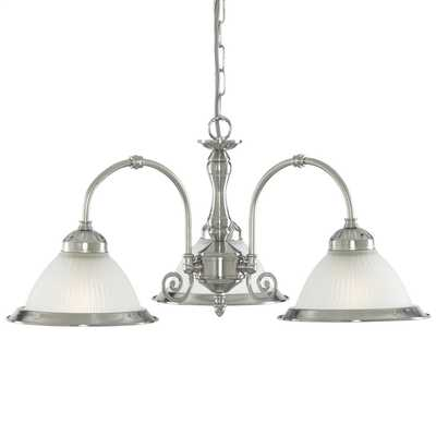 American Diner 3 Light Ceiling Light Satin Silver