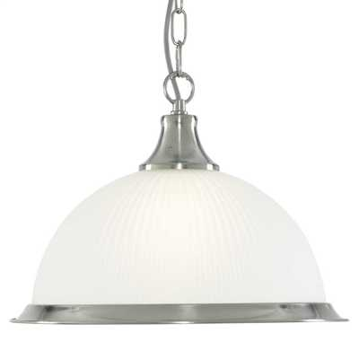 American Diner Single Ceiling Pendant Satin Silver