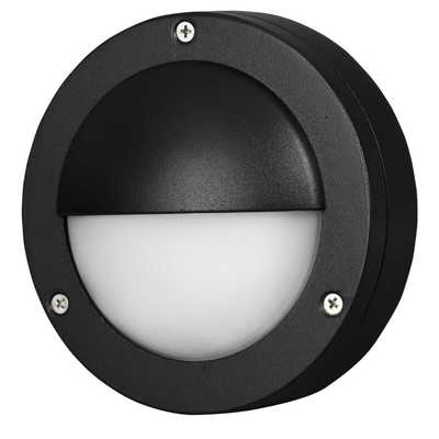Searchlight Round IP44 Outdoor LED Wall Light Black