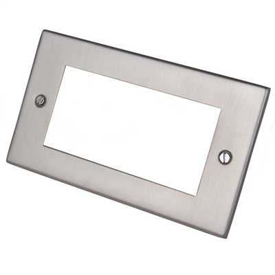 2 Gang 4 Module Front Plate Satin Chrome
