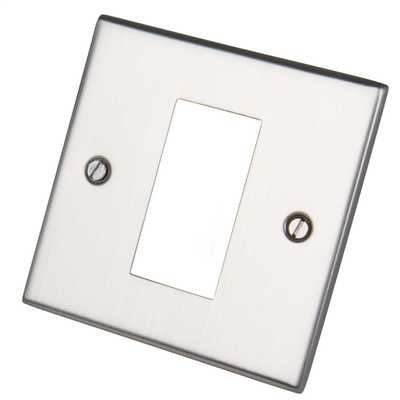 1 Gang 1 Module Front Plate Satin Chrome