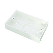 2 Gang 32mm Deep PVC Moulded Surface Pattress Back Box Square Corners With 20mm Conduit KO White (Sold in 1's)