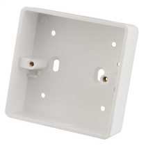 1 Gang 32mm Deep PVC Moulded Surface Pattress Back Box Round Corners With 20mm Conduit KO White (Sold in 1's)