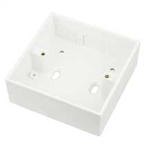 1 Gang 32mm Deep PVC Moulded Surface Pattress Back Box Square Corners With 20mm Conduit KO White (Sold in 1's)