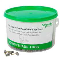 Tower Trade Tub 1.0mm / 1.5mm² + 2.5mm² T&E Plus Cable Clips - Tub of 800