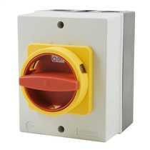20 Amp 4 Pole Rotary Isolator with Red/Yellow Handle