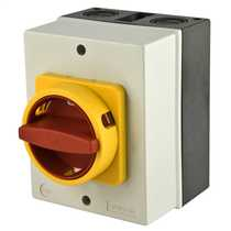 63 Amp 4 Pole Rotary Isolator with Red/Yellow Handle
