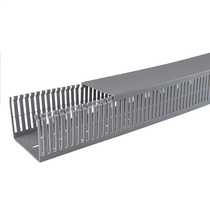 80mm x 100mm Open Slotted Trunking Grey (2m length)