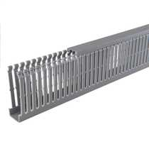 80mm x 25mm Open Slotted Trunking Grey (2m length)