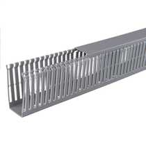 80mm x 40mm Open Slotted Trunking Grey (2m length)