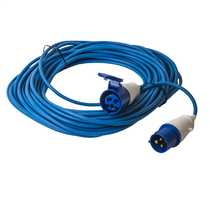 1.5mm 230V 20m Blue  BS 4343 Caravan Extension Lead with 16A 2P+E 230V Plug and Coupler fitted IP44 rated