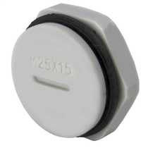 25mm Blanking plug complete with Gasket and Locknut IP68 Grey (Sold in 1's)