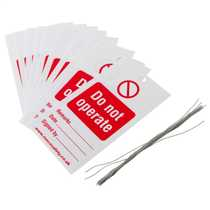 145mm x 80mm 'Do Not Operate' Safety Tags Red and White