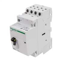 25A 230V 4 Pole 4 N/O Contactor with Manual Selector