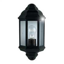 Outdoor and Porch IP44 Black Cast Aluminium Half Lantern