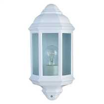 Outdoor and Porch IP44 White Cast Aluminium Half Lantern