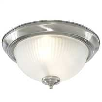 IP44 Flush Bathroom Chrome Light with Acid Glass