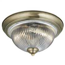 Flush - 2 Light Antique Brass Clear Ribbed Glass Flush Ceiling Light