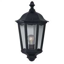 Alex IP44 Black Half Lantern