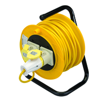 16A 25m 110V 2 Gang Freestanding Cable Reel Yellow